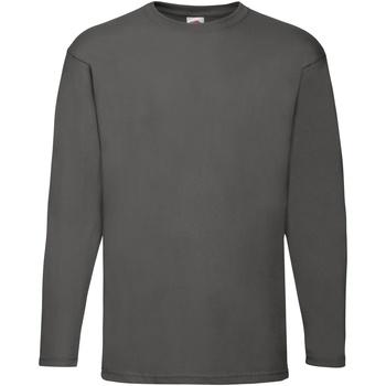 Textiel Heren T-shirts met lange mouwen Fruit Of The Loom Valueweight Licht Graphite