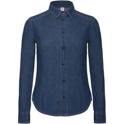 Textiel Dames Overhemden B And C Vision Diep blauw denim
