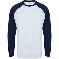 Textiel Heren T-shirts met lange mouwen Skinni Fit Baseball Wit / Oxford Navy