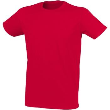 Textiel Heren T-shirts korte mouwen Skinni Fit Stretch Heide Rood