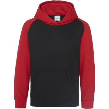 Textiel Kinderen Sweaters / Sweatshirts Awdis Baseball Jet Zwart / Vuurrood