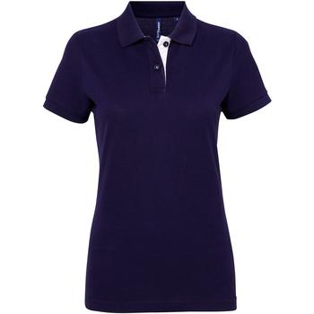 Textiel Dames Polo's korte mouwen Asquith & Fox Contrast Marine / Wit