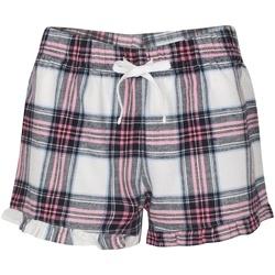 Textiel Dames Korte broeken / Bermuda's Skinni Fit Tartan Wit/roze Controle