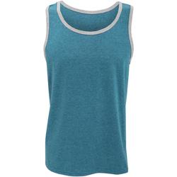 Textiel Heren Mouwloze tops Anvil 986 Caribisch Blauw / Heide Grijs