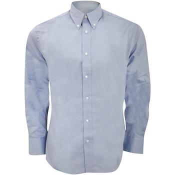 Textiel Heren Overhemden lange mouwen Kustom Kit Oxford Lichtblauw