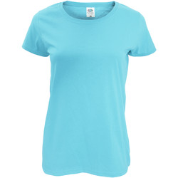 Textiel Dames T-shirts korte mouwen Fruit Of The Loom 61420 Sky Blauw