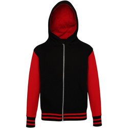 Textiel Kinderen Sweaters / Sweatshirts Awdis Varsity Jet Zwart / Vuurrood