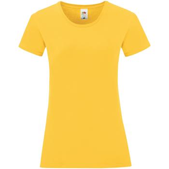 Textiel Dames T-shirts korte mouwen Fruit Of The Loom Iconic Zonnebloem Geel