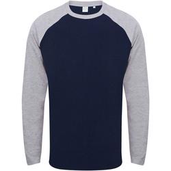 Textiel Heren T-shirts met lange mouwen Skinni Fit Baseball Marine Oxford / Heide Grijs