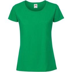 Textiel Dames T-shirts korte mouwen Fruit Of The Loom Premium Bright Groen
