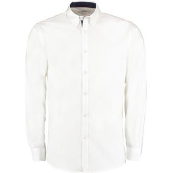Textiel Heren Overhemden lange mouwen Kustom Kit Oxford Wit/Zwaar