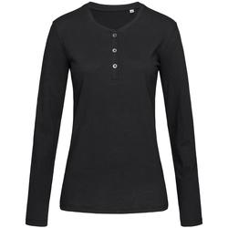 Textiel Dames T-shirts met lange mouwen Stedman Stars Slub Zwart Opaal