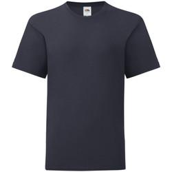 Textiel Kinderen T-shirts korte mouwen Fruit Of The Loom Iconic Donker Marine