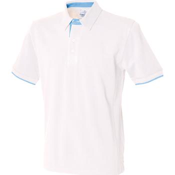 Textiel Heren Polo's korte mouwen Front Row Contrast Wit/ Hemelsblauw