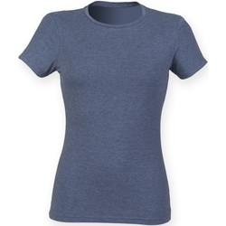 Textiel Dames T-shirts korte mouwen Skinni Fit Stretch Heide-Marine