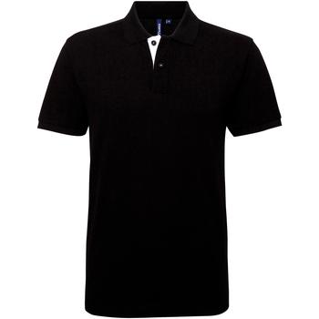 Textiel Heren Polo's korte mouwen Asquith & Fox Contrast Zwart/Wit