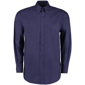 Textiel Heren Overhemden lange mouwen Kustom Kit Oxford Middernacht marine