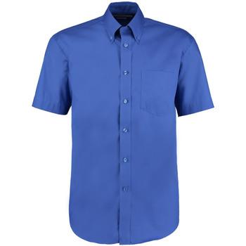 Textiel Heren Overhemden korte mouwen Kustom Kit Oxford Koningsblauw