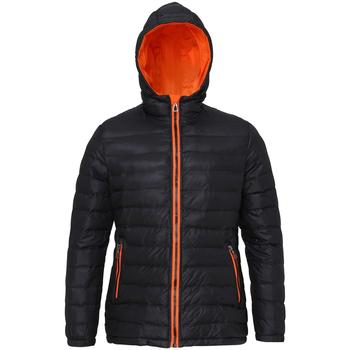 Textiel Dames Dons gevoerde jassen 2786 Hooded Zwart/Oranje