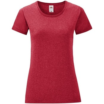 Textiel Dames T-shirts korte mouwen Fruit Of The Loom Iconic Heather Rood
