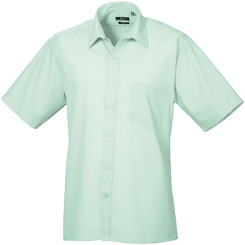 Textiel Heren Overhemden korte mouwen Premier Poplin Aqua