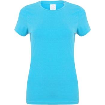 Textiel Dames T-shirts korte mouwen Skinni Fit Stretch Surf Blauw