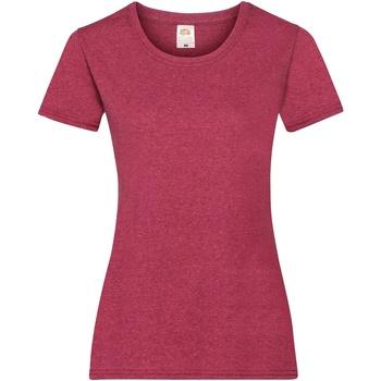 Textiel Dames T-shirts korte mouwen Fruit Of The Loom 61372 Vintage Heather Rood