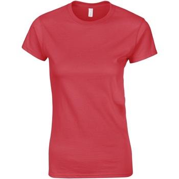 Textiel Dames T-shirts korte mouwen Gildan Soft Antiek kersenrood