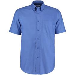 Textiel Heren Overhemden korte mouwen Kustom Kit Oxford Italiaans Blauw
