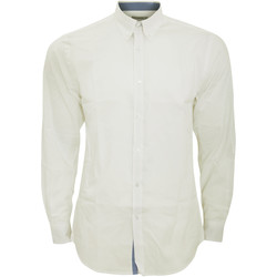 Textiel Heren Overhemden lange mouwen Kustom Kit Oxford Wit/middenblauw