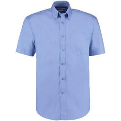 Textiel Heren Overhemden korte mouwen Kustom Kit Oxford Middenblauw