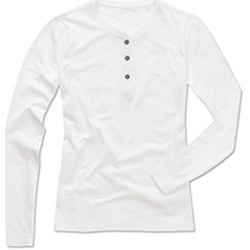 Textiel Dames T-shirts met lange mouwen Stedman Stars Slub Wit
