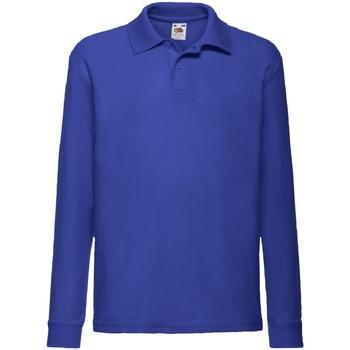 Textiel Jongens Overhemden lange mouwen Fruit Of The Loom Pique Royaal Blauw