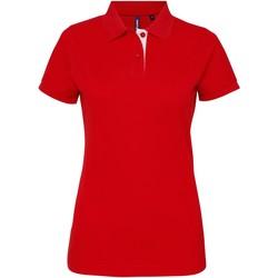 Textiel Dames Polo's korte mouwen Asquith & Fox Contrast Rood/wit