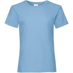 Textiel Meisjes T-shirts korte mouwen Fruit Of The Loom Valueweight Hemel Blauw