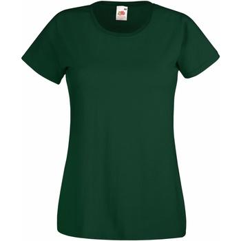 Textiel Dames T-shirts korte mouwen Fruit Of The Loom 61372 Bottle Groen