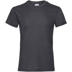 Textiel Meisjes T-shirts korte mouwen Fruit Of The Loom Valueweight Donker Heather