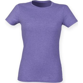 Textiel Dames T-shirts korte mouwen Skinni Fit Stretch Heide Paars