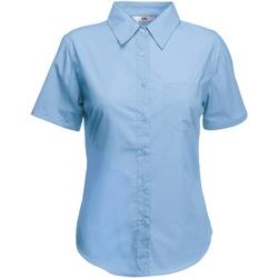 Textiel Dames Overhemden Fruit Of The Loom Poplin Mid Blauw