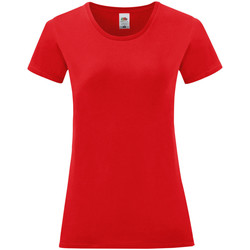 Textiel Dames T-shirts korte mouwen Fruit Of The Loom Iconic Rood