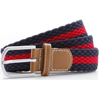 Accessoires Heren Riemen Asquith & Fox Two Colour Stripe Marine / Rood