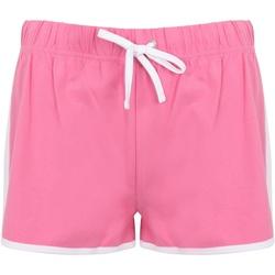 Textiel Dames Korte broeken / Bermuda's Skinni Fit Retro Helder Roze/Wit