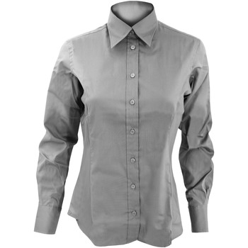 Textiel Dames Overhemden Kustom Kit Oxford Zilvergrijs