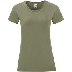 Textiel Dames T-shirts korte mouwen Fruit Of The Loom Iconic Klassiek Olijf Groen