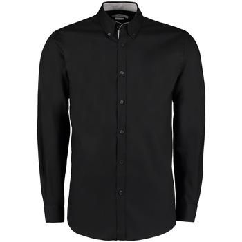 Textiel Heren Overhemden lange mouwen Kustom Kit Oxford Zwart/Zilver
