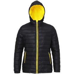 Textiel Dames Dons gevoerde jassen 2786 Hooded Zwart/Rechts Geel