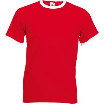 Textiel Heren T-shirts korte mouwen Fruit Of The Loom 61168 Rood/Wit