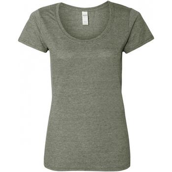 Textiel Dames T-shirts korte mouwen Gildan Scoop Grafiet Heide