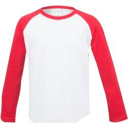 Textiel Kinderen T-shirts met lange mouwen Skinni Fit Baseball Wit / Rood