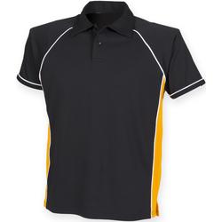 Textiel Heren Polo's korte mouwen Finden & Hales Piped Zwart/Amber/Wit